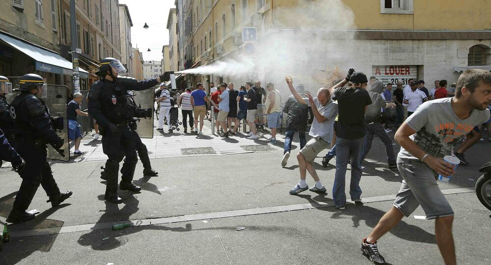 Football Soccer - Euro 2016 - England v Russia - Group B - Stade Velodrome, Marseille, France - 11/6/16 Police use teargas on supporters near port of Marseille before the game