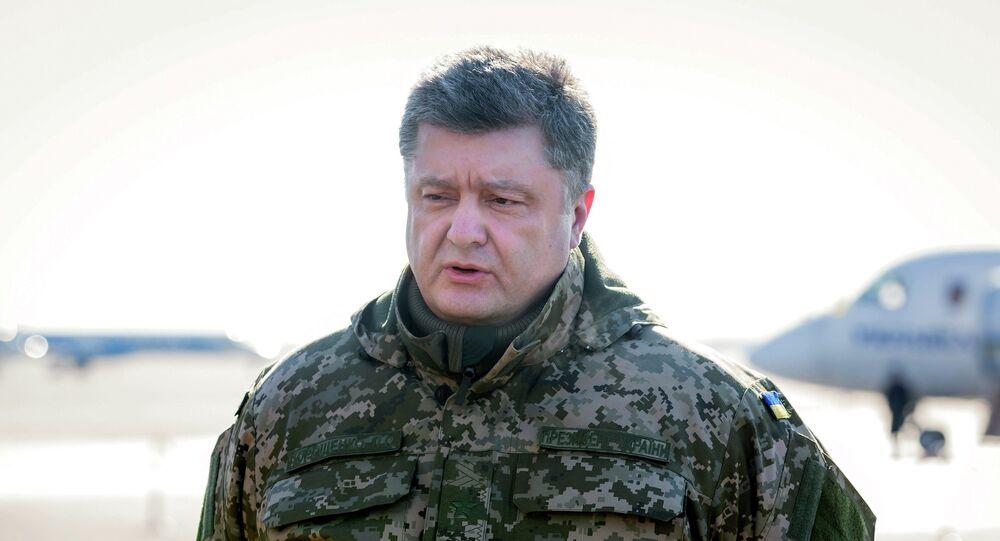 Ukraine's President Petro Poroshenko addresses the media in Kiev