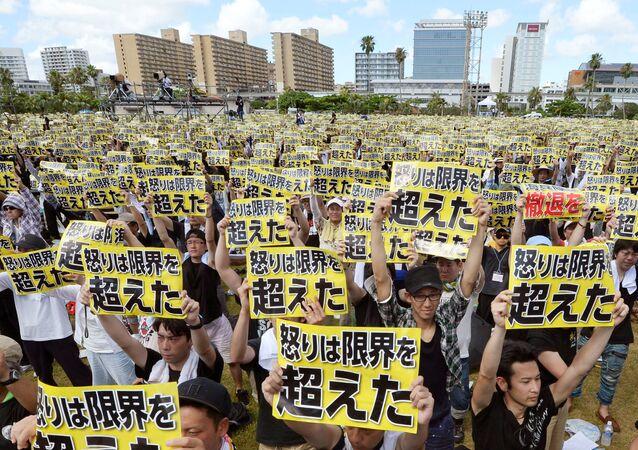 Manifestazione anti-USA ad Okinawa