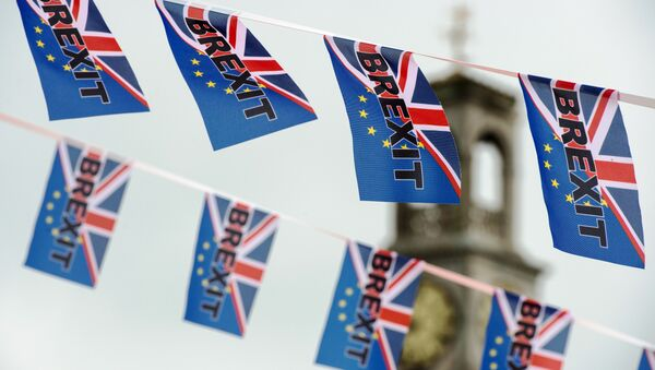 Pro-Brexit flags fly from a fishing boat moored in Ramsgate on June 13, 2016. - Sputnik Italia