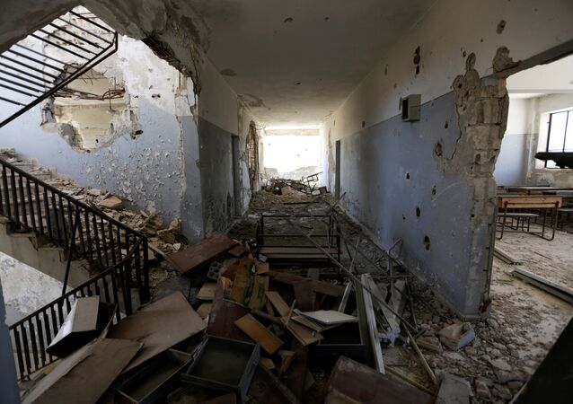 Damage is seen inside 'Syria, The Hope' school on the outskirts of the rebel-controlled area of Maaret al-Numan town, in Idlib province, Syria June 1, 2016