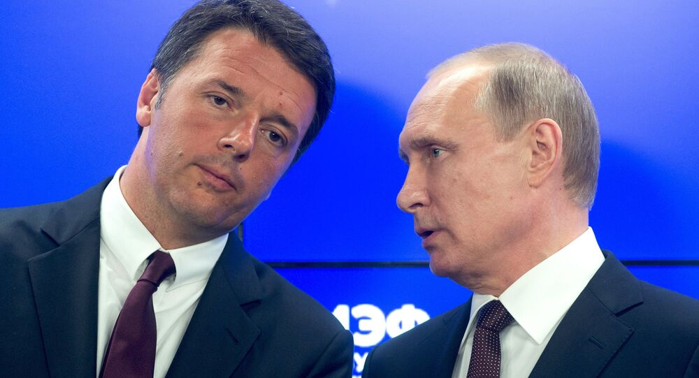 June 17, 2016. President Vladimir Putin (right) and Italian Prime Minister Matteo Renzi at the ceremony of signing documents summing up the results of the Russian-Italian talks at the 20th St. Petersburg International Economic Forum