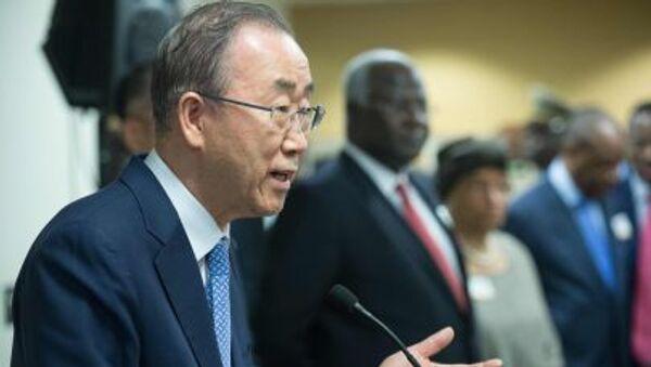Генеральный секретарь ООН Пан Ги Мун говорит с прессой в  Вашингтоне - Sputnik Italia