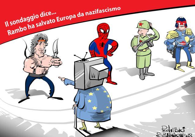 Caricatura chi ha salvato l'Europa dal nazifascismo