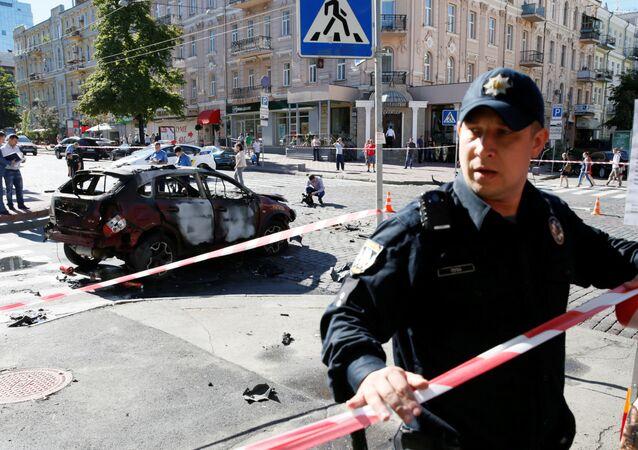 Luogo dell'attentato mortale contro il giornalista Pavel Sheremet a Kiev