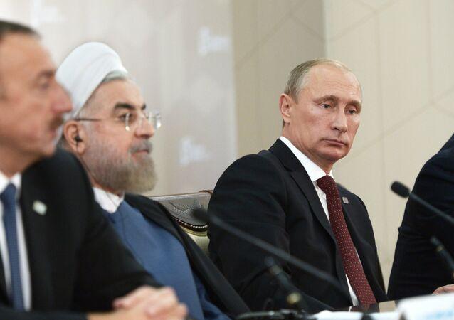 Ilham Aliyev, Hassan Rouhani e Vladimir Putin