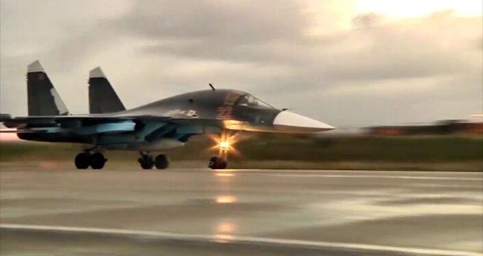 Caccia Su-34 dell'operazione militare russa in Siria (foto d'archivio)