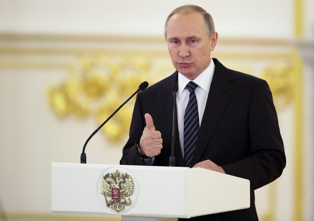 Vladimir Putin parla alla cerimonia di premiazione degli atleti russi