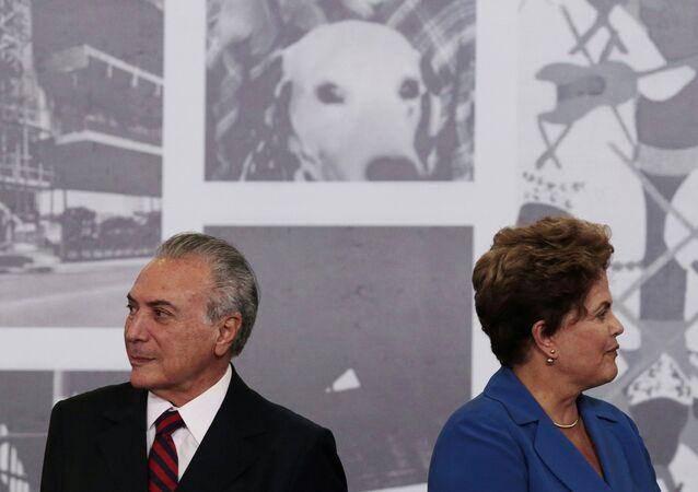 Dilma Rousseff el'allora vice presidente Michel Temer nel 2014