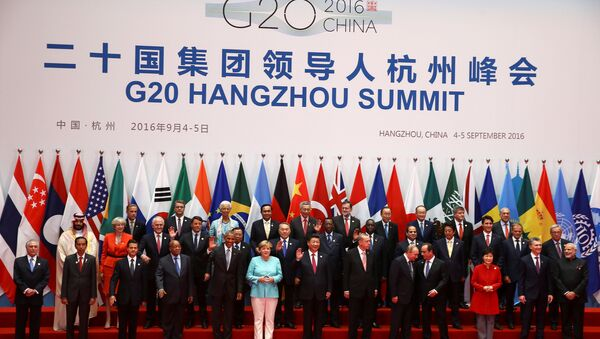 Leaders pose for pictures during the G20 Summit in Hangzhou, Zhejiang province, China September 4, 2016. - Sputnik Italia