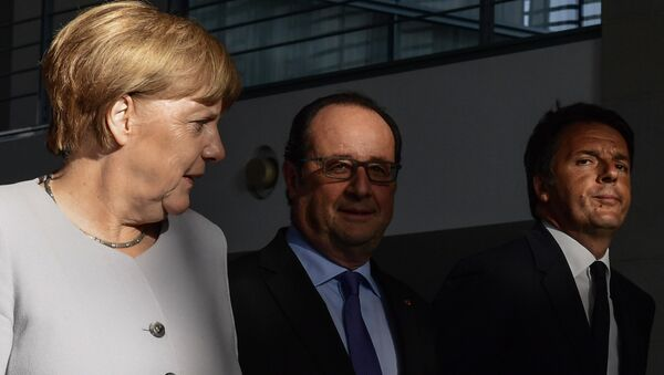 Angela Merkel, Francois Hollande e Matteo Renzi a Berlino - Sputnik Italia
