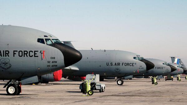 A lineup of US air force KC-135 tanker planes seen at the Manas air base in Bishkek, Kyrgyzstan. File photo - Sputnik Italia