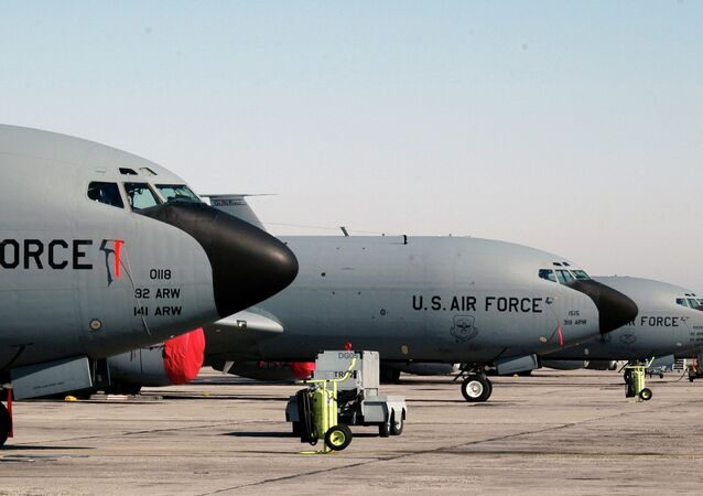 A lineup of US air force KC-135 tanker planes seen at the Manas air base in Bishkek, Kyrgyzstan. File photo