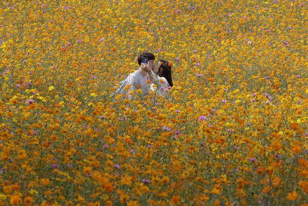 Una coppia nel Parco Opimpico a Seul, Corea del Sud. - Sputnik Italia