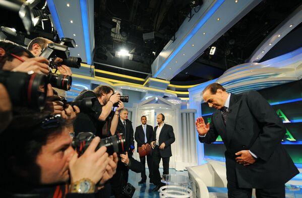 Silvio Berlusconi durante la sua puntata di Porta a Porta. - Sputnik Italia