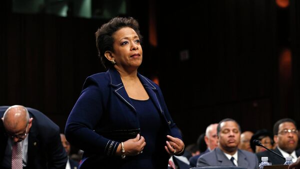 Loretta Lynch takes her seat to testify before a Senate Judiciary Committee confirmation hearing on her nomination to become U.S. attorney general on Capitol Hill in Washington January 28, 2015. - Sputnik Italia