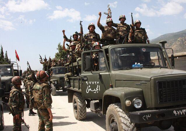 Soldati siriani nella provincia di Damasco