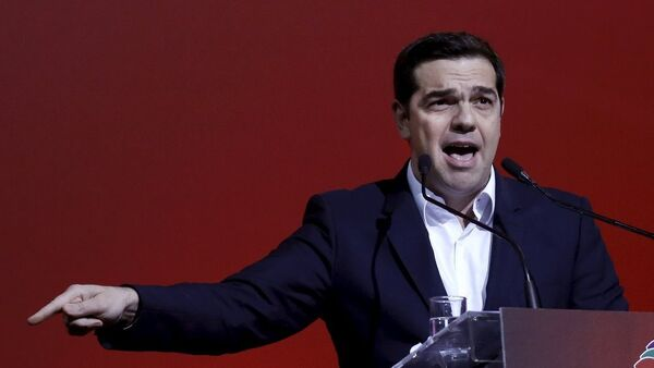 Greek Prime Minister Alexis Tsipras delivers a speech marking one year since he was first elected to power in Athens, Greece, January 24, 2016. - Sputnik Italia