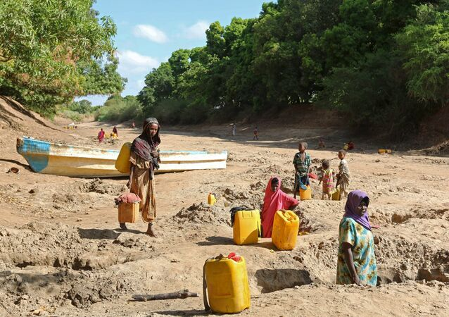 People collect water from shallow wells dug along the Shabelle River bed, which is dry due to drought in Somalia's Shabelle region, March 19, 2016