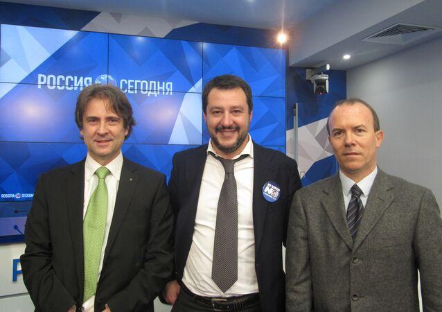 Matteo Salvini, Gianluca Savoini, Caudio D'Amico a Ria Novosti