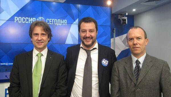 Matteo Salvini, Gianluca Savoini, Caudio D'Amico a Ria Novosti - Sputnik Italia