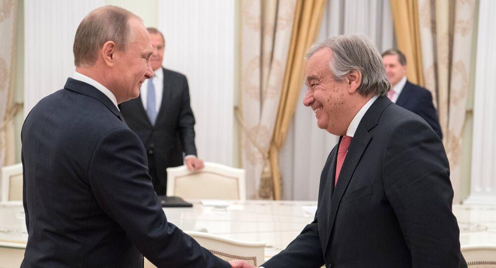 Vladimir Putin e Antonio Guterres