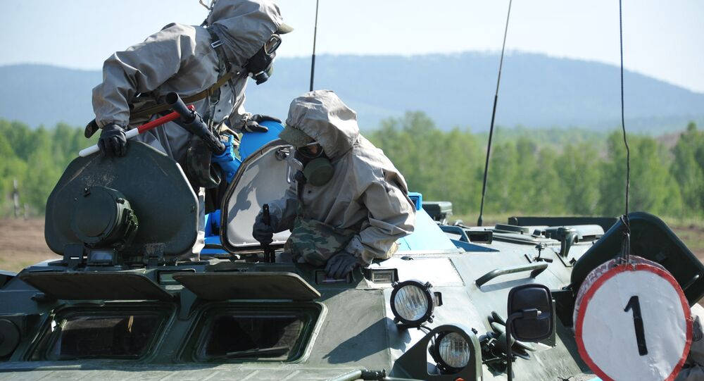 A nuclear, biological and chemical (NBC) reconnaissance crew during the regional stage of the Russian Army's Safe Environment 2016 NBC units contest in the Transbaikal region