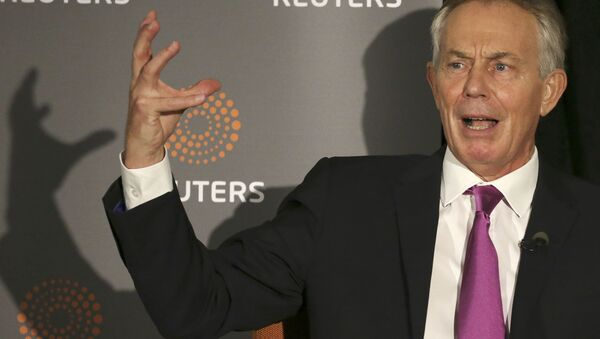 Former British Prime Minister Tony Blair speaks as Reuters Editor-at-Large Sir Harold Evans (not pictured) moderates a Reuters Newsmaker conversation Politics on the Edge, in Manhattan, New York, US, September 20, 2016. - Sputnik Italia