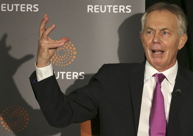 Former British Prime Minister Tony Blair speaks as Reuters Editor-at-Large Sir Harold Evans (not pictured) moderates a Reuters Newsmaker conversation Politics on the Edge, in Manhattan, New York, US, September 20, 2016.