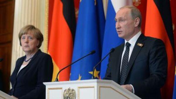 Conferenza stampa di Putin e Merkel - Sputnik Italia