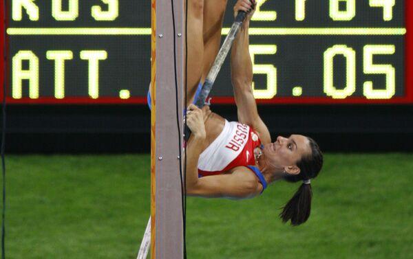 Il salto con cui Elena Isinbayeva ha vinto la medaglia d'oro alle Olimpiadi di Pechino 2008 - Sputnik Italia