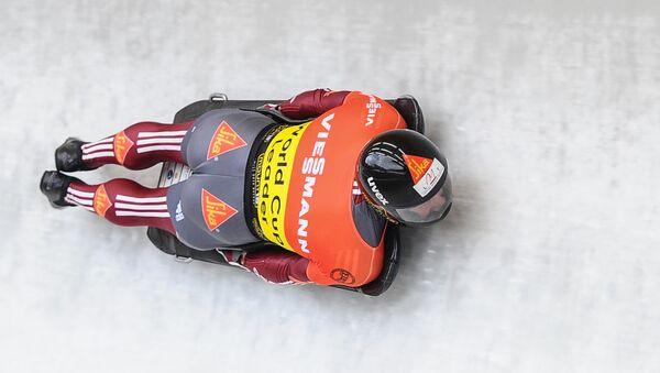 Latvia's Martins Dukurs takes part in the test events at the 9th stage of the Bobsleigh and Skeleton World Cup in Sochi. File photo - Sputnik Italia