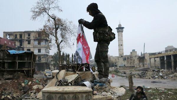 Militare in un distretto liberato di Aleppo est - Sputnik Italia