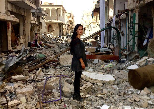 L'attrice boliviana Carla Ortiz in Siria