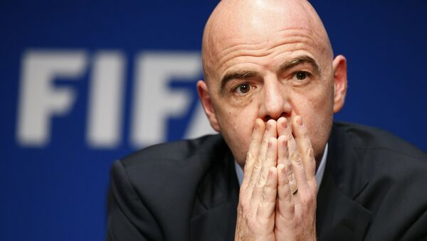 FIFA President Gianni Infantino attends a news conference after the executive committee meeting at the FIFA headquarters in Zurich, Switzerland March 18, 2016. - Sputnik Italia