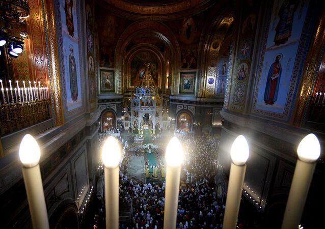 La messa di Natale nella Cattedrale di Cristo Salvatore a Mosca.