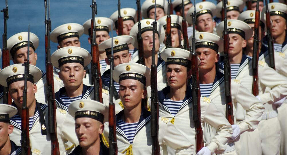 Sailors of Russian Black Sea Fleet march during Navy Day celebrations in Sevastopol