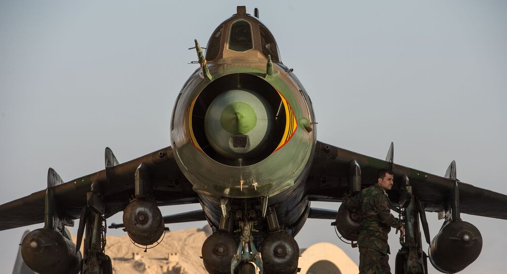 Su-22 fighter jet at the Syrian Air Force base in Homs province
