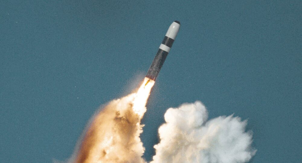A Trident II nuclear missile underwater launch