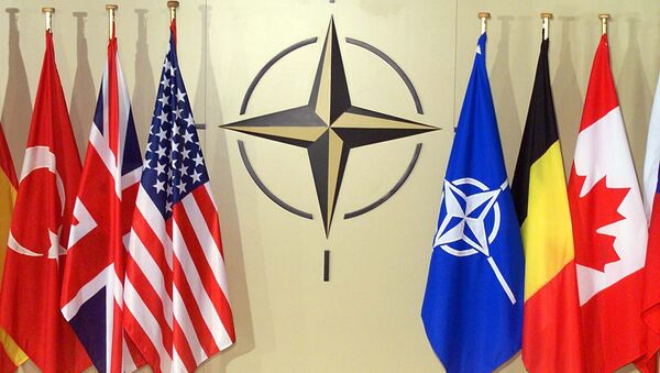 Bandiere dei paesi membri della NATO a Bruxelles - Sputnik Italia
