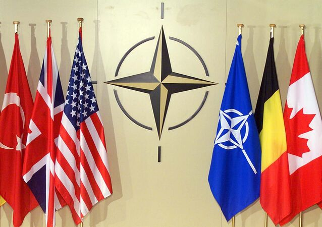 Bandiere dei paesi membri della NATO a Bruxelles