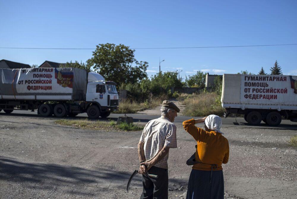 Un convoglio umanitario in arrivo nella regione di Donetsk.