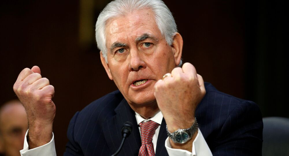 Rex Tillerson testifies during a confirmation hearing