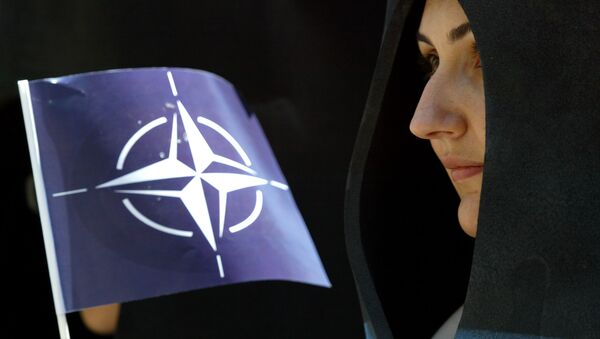 A activist holds a NATO flag during a demonstration in Istanbul, Turkey, Saturday, June 26, 2004. - Sputnik Italia
