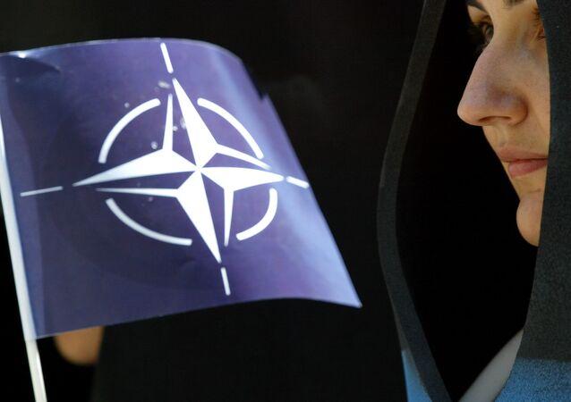 Dimostrante turca filo-NATO ad Istanbul (foto d'archivio)