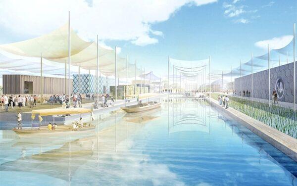 Il rendering originale del progetto Le vie dell'acqua per l'EXPO del 2015 - Sputnik Italia