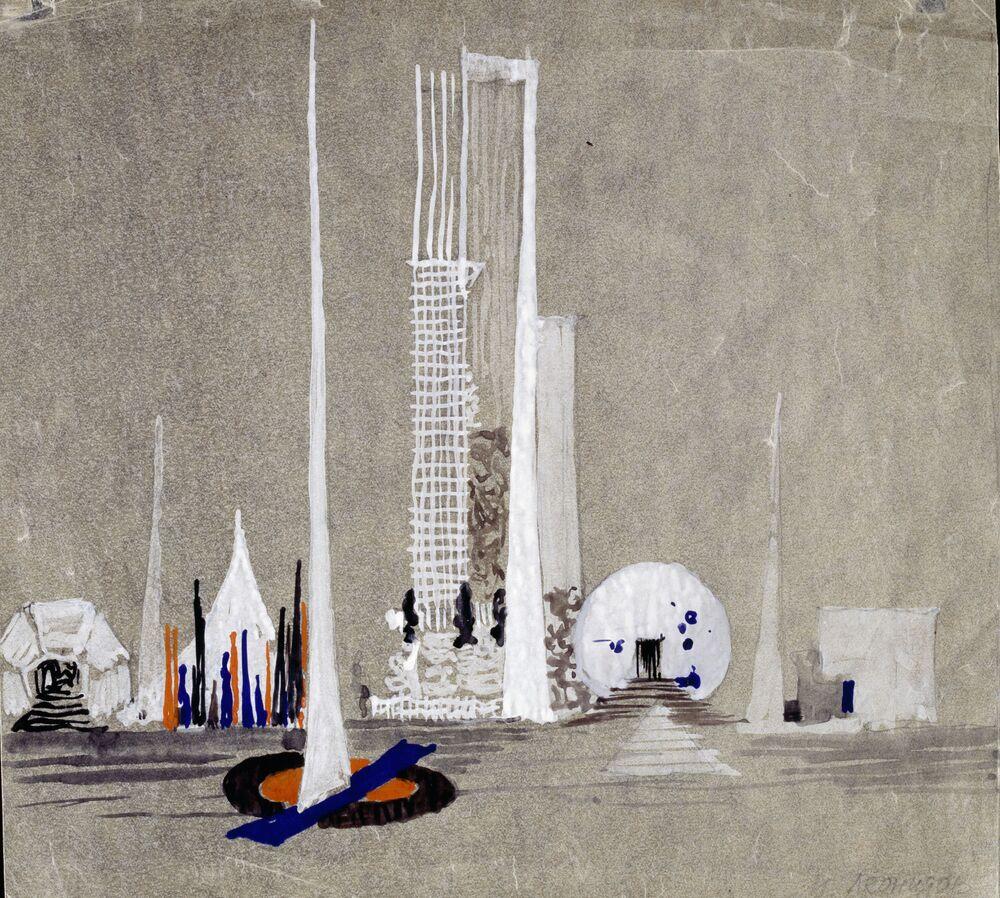 Il progetto degli edifici dell'ONU, l'autore è l'architetto russo Ivan Leonidov.