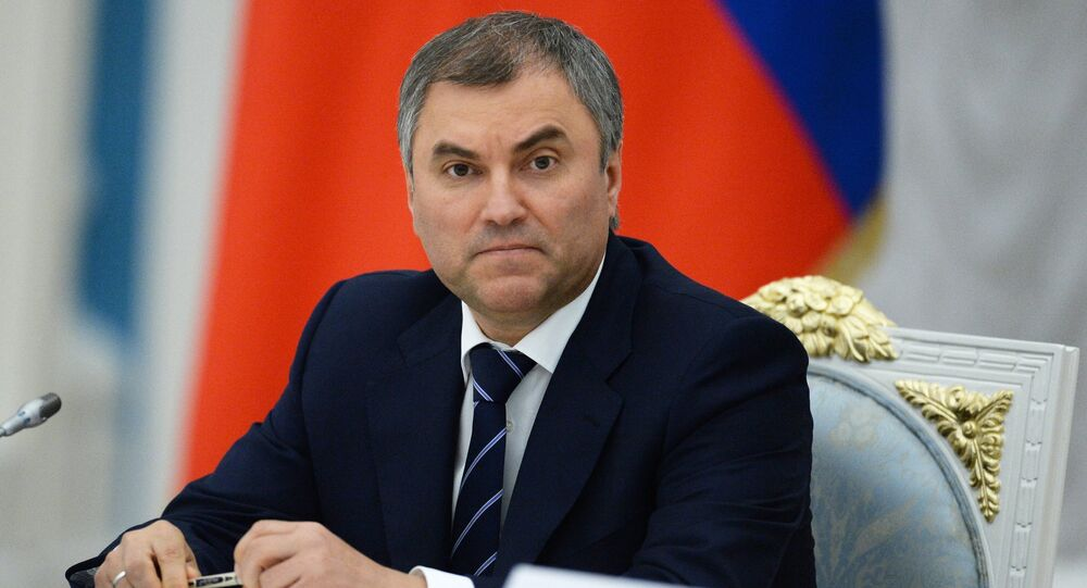 First Deputy Kremlin Chief of Staff Vyacheslav Volodin at Russian President Vladimir Putin's meeting with newly elected heads of Russia's regions at the Moscow Kremlin, September 17, 2014