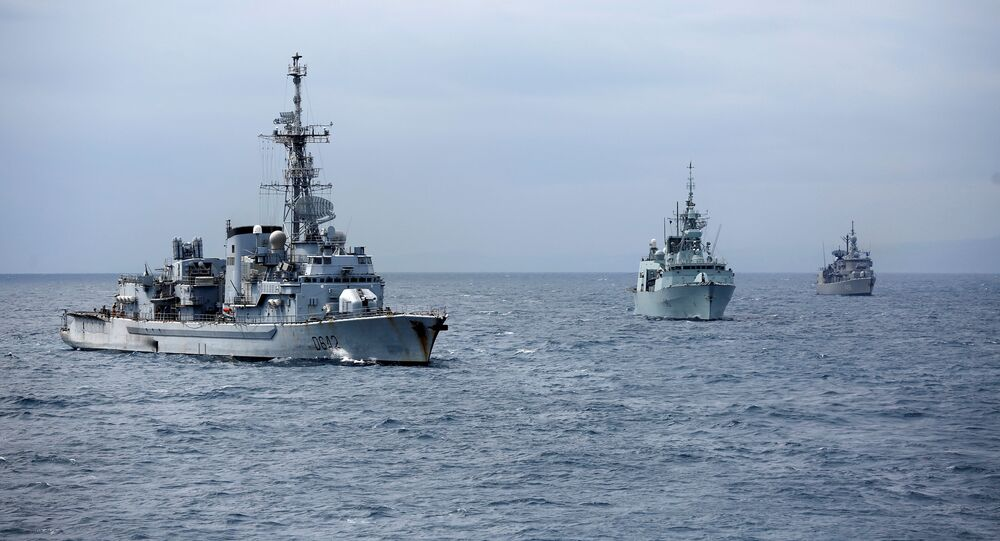 Warships participate in NATO's Dynamic Manta 2017 anti-submarine warfare exercise, in the Mediterranean sea, Italy March 13, 2017. Picture taken March 13, 2017