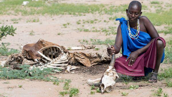 Жительница Танзании с черепом своей коровы, погибшей во время засухи - Sputnik Italia